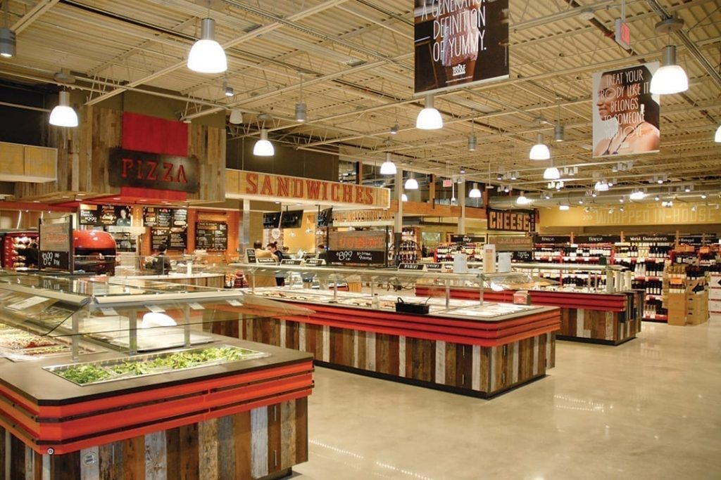 Interior layout of a grocery store.