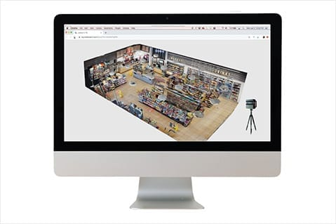Virtual 3D view of a retail store.